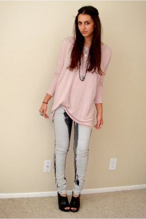 pink H&M sweater - black Target shoes - white silence and noise jeans