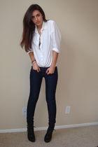 white vintage blouse - blue Express jeans - black Dollhouse shoes - brown Expres