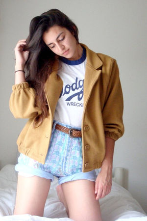 yellow American Apparel jacket - blue thrifted shorts