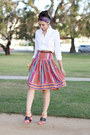 Red-vintage-skirt-white-american-apparel-shirt-purple-vintage-scarf