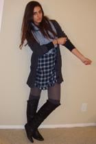 gray Express cardigan - blue Gap Body dress - blue H&M scarf - gray Urban Outfit