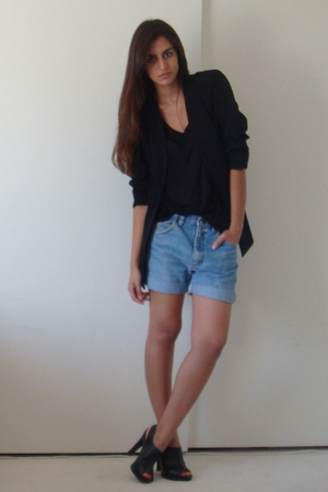 vintage blazer - Express t-shirt - DIY wranglers shorts - Target shoes