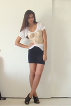gold old victorias secret bra - black Target shoes - black H&M skirt