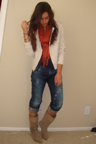 white Express jacket - blue American Apparel t-shirt - orange H&M scarf - blue e