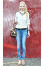 Blue-bershka-jeans-ivory-mango-shirt-brown-louis-vuitton-bag