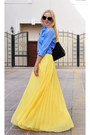 Yellow-mango-skirt-zara-shirt-chanel-bag-christian-louboutin-heels