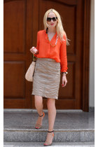 orange Zara shirt - beige salvador feragamo bag - orange Zara heels