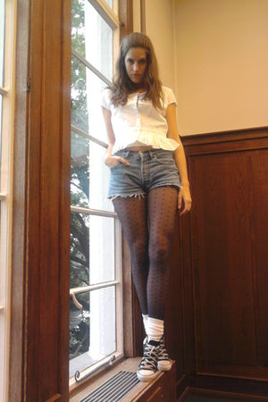 white vintage blouse - blue Levis shorts - blue H&M tights - white H&M socks - b