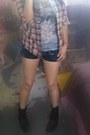 Brown-flannel-forever-21-shirt-heather-gray-tank-top-forever-21-top