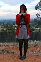 gray dress - red cardigan - black accessories