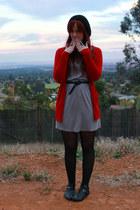 gray dress - red cardigan - black accessories