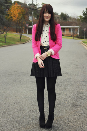 hot pink Ebay blazer - white elephant print asos shirt - black Myer skirt
