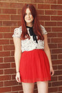 White-star-print-blouse-red-pleated-skirt-black-wedges
