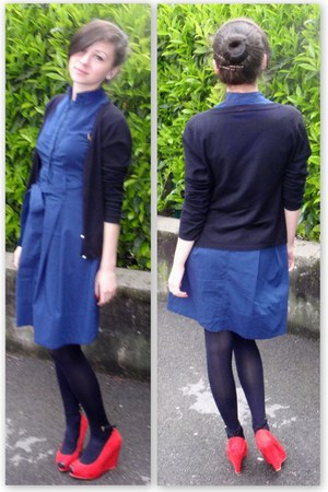 red Zara wedges - navy Piazza Italia dress - black random cardigan