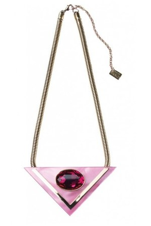bubble gum neo neckpiece necklace - hot pink bling chain bracelet - jewelled rin