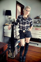 over the knee Jeffrey Campbell boots - flannel Mossimo shirt