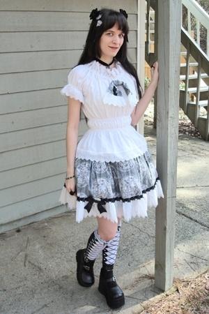 Megan Maude blouse - Megan Maude skirt - Demonia shoes - socks - leg avenue acce