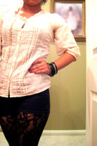beige Buckle shirt - black shorts - black tights - Forever 21 accessories - Gues