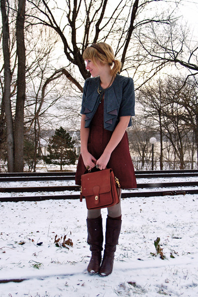 crimson dress - dark brown boots - brown bag - charcoal gray jacket - gray tight