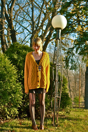 mustard sweater - black shoes - brown