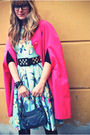 Green-h-m-dress-pink-vintage-coat-black-zara-shoes-pink-chanel-necklace