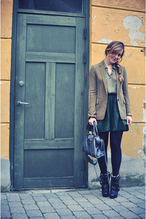 olive green Zara blazer - dark green H&amp;M skirt - olive green H&amp;M shirt - charcoa