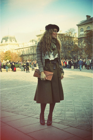 dark brown Repetto shoes - olive green H&amp;M skirt - light brown Zara cardigan