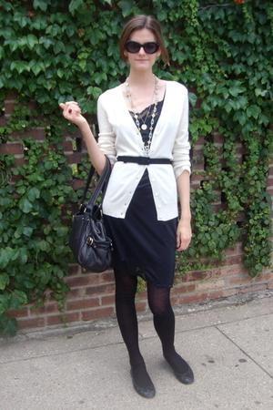 1930s vintage dress - Gap sweater - Libertine for Target belt - Miu Miu tights -