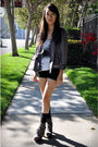 White-helmut-lang-top-purple-tee-up-jacket-gray-sam-edelman-shoes