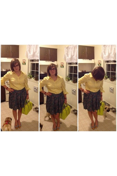 yellow kate spade bag - light yellow  top - teal thrifted vintage skirt