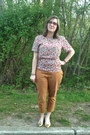 Hot-pink-rivet-sway-glasses-ivory-vintage-top-light-orange-old-navy-pants