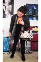 Forever21 - Forever21 scarf - top - Target leggings - boots - Burberry purse