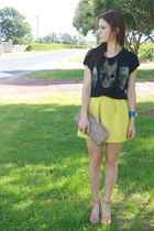 yellow asos skirt - black Zara shirt