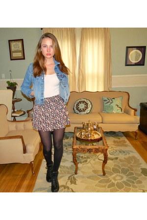 skort Forever 21 skirt - denim Levis jacket - Charlotte Russe wedges