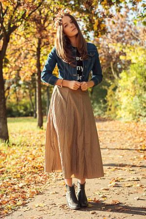 vintage skirt - H&M boots - denim new look jacket - Zara t-shirt