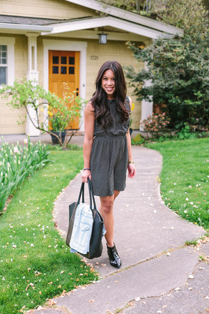 jean H&M vest - patent leather Nordstrom boots - printed unknown dress - H&M bag