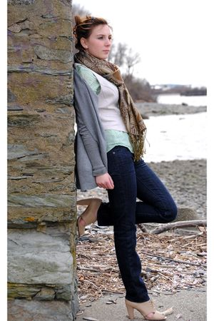 American Eagle blouse - Charlotte Russe vest - Express jeans - Forever 21 shoes