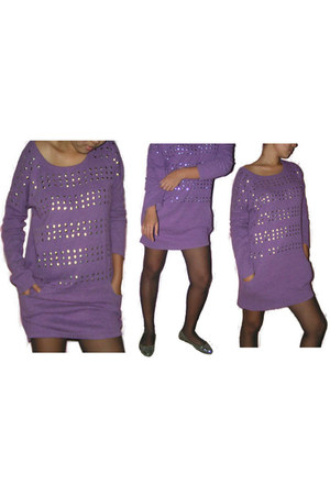 studded thifted dress - stockings stockings - sequined doll shoes flats