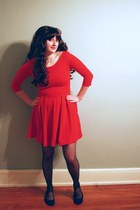 red Zara dress - black tights - blue American Eagle flats