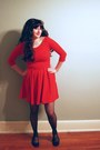 Red-zara-dress-black-tights-blue-american-eagle-flats
