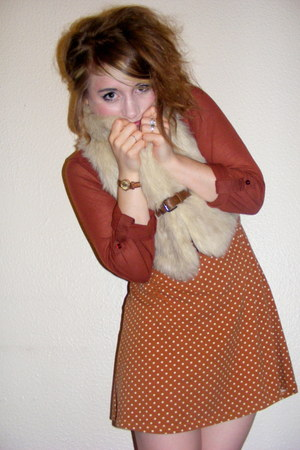 faux fur Primark vest - polka dot Topshop dress - burnt orange Primark shirt