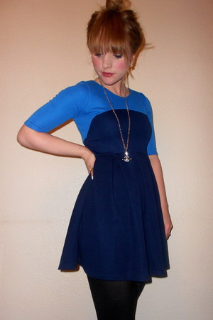 two-tone TK Maxx dress - Topshop tights - orb vivienne westwood necklace