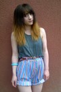 Thrifted-shorts-topshop-necklace-topshop-vest