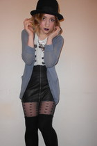 H&M skirt - Urban Outfitters hat - Topshop tights - Topshop cardigan