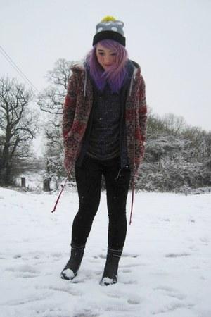 Topshop jumper - vintage boots - Topshop coat - Lazy Oaf hat - next leggings