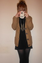 Topshop necklace - Topshop dress - Topshop tights - camel Primark cardigan