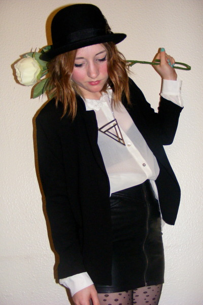 H&M skirt - Urban Outfitters hat - light cotton new look blazer - new look shirt