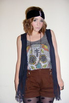black tassled new look vest - spotted Topshop tights - brown new look shorts