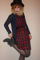 Topshop boots - thrifted vintage dress - Urban Outfitters hat - Topshop tights