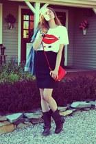 Deer Dana shirt - All Saints boots - DKNY jacket - Burberry skirt